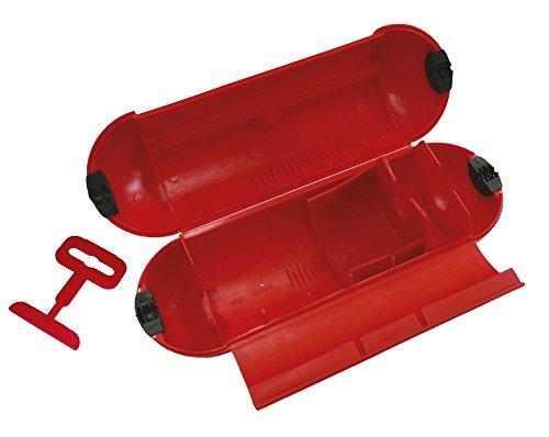 Poly Pool PP2601 waterdichte afdekking voor de tuin, stekker - stopcontact buiten, IP44 met haken, rood
