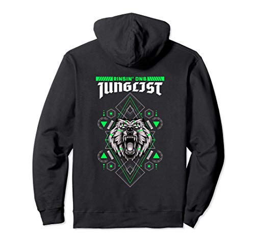 DnB Music Liquid Jungle Wolf Rave EDM Drum And Bass Pullover Hoodie