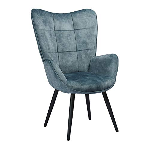 Mueble Cosy - Sillón Grande de Estilo escandinavo con un Revestimiento de Tela Azul, reposabrazos Acolchados y Patas de Madera Maciza (Metal)