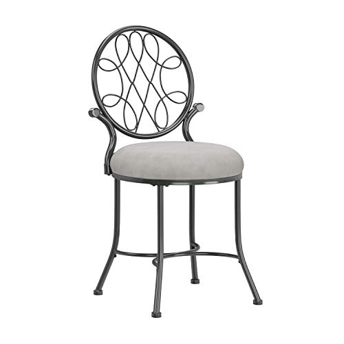 Hillsdale O'Malley Vanity Stool, Metallic Gray