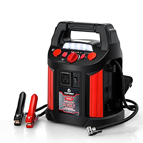 Goplus Jump Starter 1500 Peak/700 Instant Amps, 180 PSI Air Compressor Portable Power Bank Charger with 2 USB Ports Smart Clamps and LED Flashlight