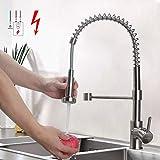 BONADE Niederdruck Küchenarmatur Edelstahl Gebürster Wasserhahn Küche, Schwenkbereich 360°...