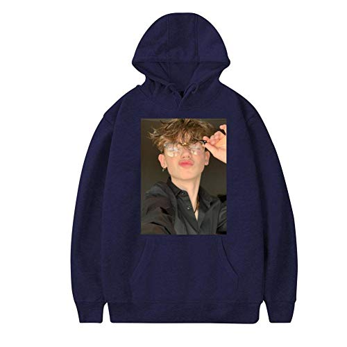 Payton_Moormeier Handsome Boys Fashion Adult Cotton Material Hoodie Sweat Shirt for Men Navy