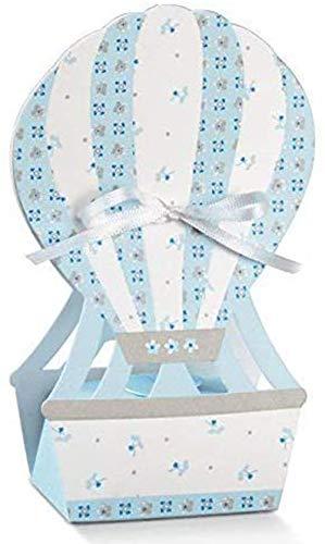 20 PZ Mongolfiera portaconfetti 6x4x14 cm CELESTE linea bloom BOMBONIERA
