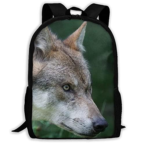QQIAEJIA Mochilas ligeras con estampado de mamíferos carnívoros de lobo europeo depredador mochilas escolares informales para Kis adultos