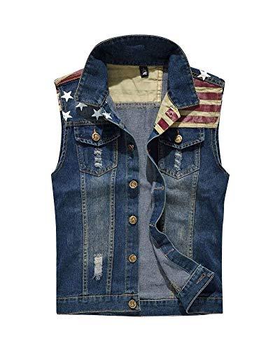 HX fashion Rmellose Jeans Weste Denim Jacke Weste Slim Bequeme Größen Fit Weste Usa Aufdruck Spleiß Jeansweste Herren Frühling Herbst Jeansjacke Kleidung (Color : Blau, Size : XL)