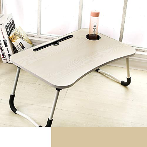 Laptop Bed Tray Table, Foldable Lap Desk Stand, Multifunction Lap Tablet with Slot and Cup Holder, for Eating Breakfast, Reading, Working, Watching Movie on Bed/Sofa/Floor Beige