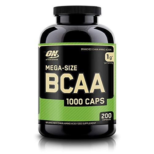 Optimum Nutrition BCAA 1000 Branched Chain Amino Acids with L-Leucine, L-Isoleucine and L-Valine, Unflavoured BCAA Supplements, 100 Servings, 200 Capsules