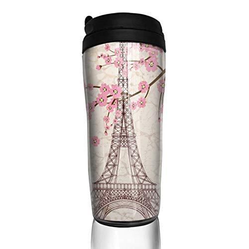GCDT Taza de café con impresión 3D de la Torre Eiffel de París con la flor durable portátil taza de viaje con tapa abatible aislada al vacío tazas para el hogar Oficina al aire libre Obras 350ml