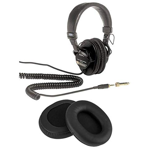 Sony MDR-7506 Professional Folding Headphones - with H&A High Frequency Leather Earpads for Sony MDR-7506 Headphones