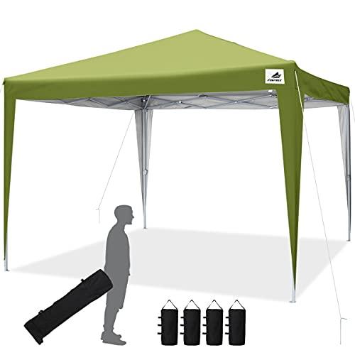 Finfree Faltpavillon 3x3 Faltbar Pavillon Wasserdicht inkl. Tragetasche mit Rollen, 4 Sandsäcken, ohne Seitenwände, Gardenzelt für Party, Fest und Flohmarkt