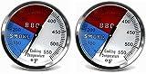 Hongso (2-Pack) 2' 550F BBQ Charcoal Grill Pit Wood Smoker Temp Gauge Thermometer 2.5' STEM SS RWB