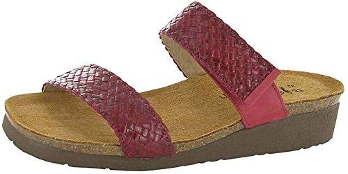 Naot Footwear Women's Blake Wedge Sandal Red Braid/Brick Red Nubuck 8 M US