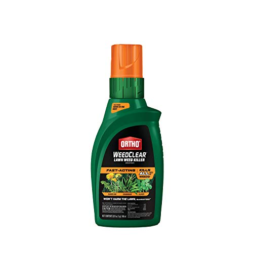 Ortho WeedClear Lawn Weed Killer Concentrate - Crabgrass Killer, Also Kills Dandelion, Clover, Foxtail & More, Weed Control for Lawns, Use on Tall Fescue, Kentucky Bluegrass & More, Fast Acting, 32 oz