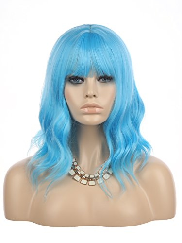 eNilecor Blue Wig Short Curly Bob Wigs with Air Bangs 14' Natural Colored Wigs for Women