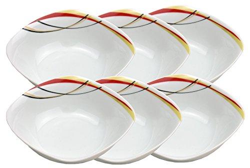 Ensemble de 6 bol monza 14,2 cm-petit bol/saladier en porcelaine blanche avec décor dans les ridules noir, rouge et beige