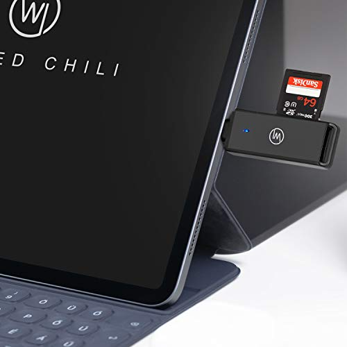 Wicked Chili Kartenleser USB 3.0 Card Reader SD Micro SD Adapter auf USB-C Kartenlesegerät USB Typ C kompatibel MacBook Pro mit Thunderbolt 3, iPad Pro 2020/2018, Galaxy S20, P40 Pro (5Gb/s) schwarz