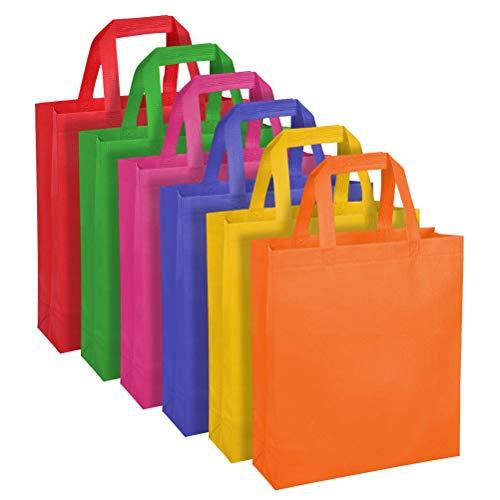 WOWOSS 30 Bolsos no Tejidos con Asas de 6 Colores, Bolsos de Cumpleaños para Niños, Halloween, Navidad o Actividades Creativas