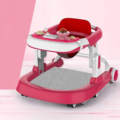 Caminante plegable del bebé, altura ajustable, cajas de música de la caja de música, cojín transpirable impermeable de la PU, ruedas silenciosas de ajuste de velocidad, anti-rollover, evitando las pie