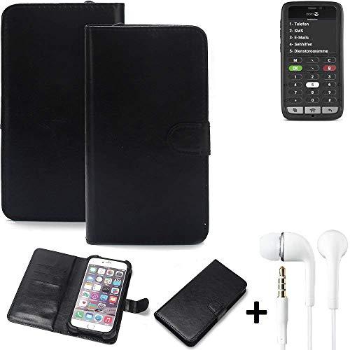 K-S-Trade® Wallet Case Handy Hülle Für Doro 8031C Schutz Hülle Smartphone Flip Cover Flipstyle Tasche Schutzhülle Flipcover Slim Bumper Schwarz + In Ear Headphones