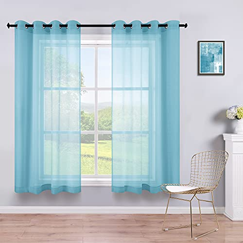 Blue Short Curtains 45 Inch Length for Bathroom Windows 2 Panels Grommet Small Semi Sheer Curtains for Bedroom Boys Kids Room Laundry Room 52x45 Inches Long Light Blue