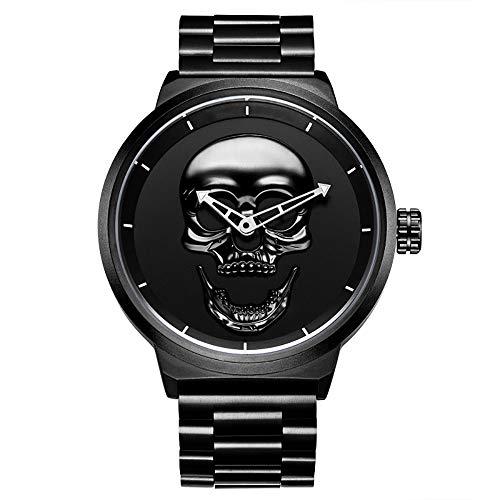 Zoyie Relojes de Calavera para Hombre Hip Hop Reloj de Pulsera de Cuarzo Fresco Reloj de Rapero Helado con Correa de Acero Inoxidable Reloj de Pulsera Horas (30m a Prueba de Agua)