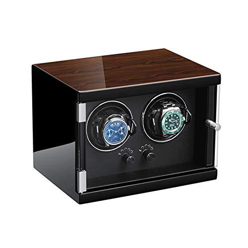 ZCYXQR Enrollador de Reloj Doble para Relojes automáticos Almohada de Reloj Ajustable de Cuero Suave Motor silencioso Ajuste de 5 Marchas (Color: Negro)