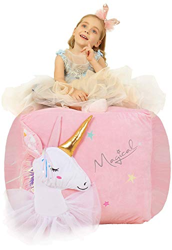 "Anzitinlan Unicorn Chair for Girls, Stuffed Animal Storage Bean Bag Chair, Toy Storage BeanBag for Children, Baby Fleece Fabric Super Soft, Cover Only, 22""x24"" Extra Large Ballet Horse"