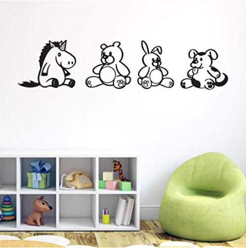 N\A vinilos de Pared Decorativos Pony Oso Conejo Cachorro Pegatinas de Pared kdis habitación Dormitorio decoración de Fondo calcomanías Mural Desmontable Pegatinas de Animales Lindos