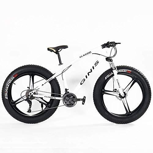 AUTOKS Vélos de Montagne pour Adolescents, vélo à Gros pneus de 21 Pouces et 24 Pouces, VTT Semi-Rigide à Cadre en Acier à Haute teneur en Carbone avec Frein à Disque Double, Jaune, 5 Rayons