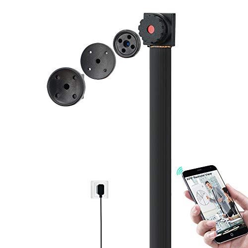720P HD Micro cámara espía WiFi botón Camisa - Cámara de Seguridad USB Compatible con la visualización remota del Smartphone, 24/7 días de grabación