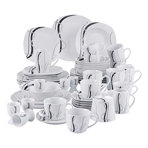 VEWEET Porzellan Tafelservice \'Fiona\' 50-teilig Set, Kombiservice Beinhaltet Dessertteller, Speiseteller, Suppenteller, Müslischalen, Kaffeebecher, Kaffeetassen Set, Eierbecher, Milch- und Zuckerset