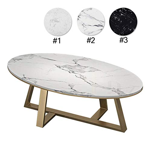 Marmeren salontafel Elegant Smooth Coffee Table |Oval Couch Bedside Side Table |Faux Marble |Gold Base |Living Room Decor |Wit | kleur kan worden aangepast leisure tafel
