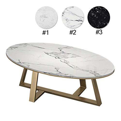 Creative moderne minimalistische salontafel Elegant en soepel salontafel |Oval sofa nachtkastje |Synthetische marmer |Golden base |Woonkamer decoratie Licht luxe-afwijzing van middelmatigheid