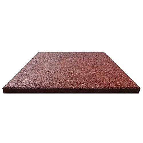 vidaXL 6x Fallschutzmatten Gummi Rot Fallschutzplatten Bodenmatten Spielplatz - 5
