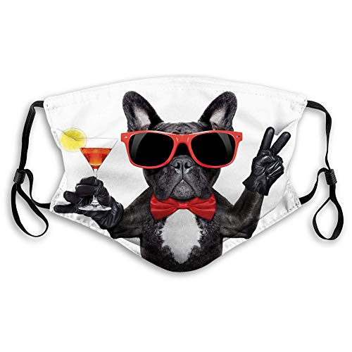 Comfortable Printed mask,Funny, French Bulldog Holding Martini Cocktail Ready for The Party Nightlife Joy Print, Black Red White,Windproof Facial decorations for Teens Size:S