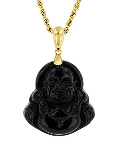 Smiling Laughing Buddha Black Jade Pendant Necklace Rope Chain Genuine Certified Grade A Jadeite Jade Hand Crafted, Jade Rope Chain, Jade Necklace, Black Jade 22' Rope Necklace (Black Buddha, 22.0)