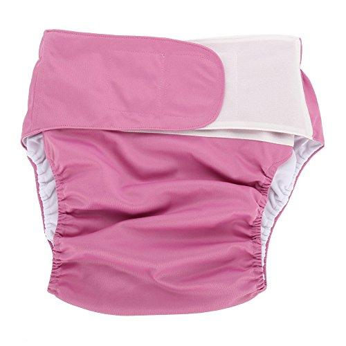 Windelhosen gegen Inkontinenz - Adult Windel Windel Höschen für Erwachsene verstellbare Schicht aus Stoff waschbar wiederverwendbar Inkontinenz-Hygieneartikel für ältere Menschen (Farbe : Rosa)