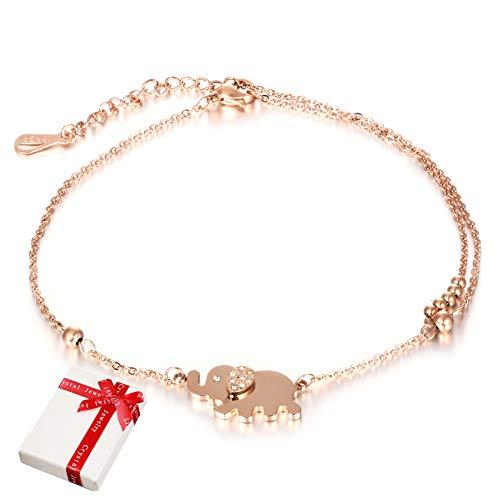 Damen Fußkettchen Rose Gold mit Elefant Anhänger Schmuck für Frauen Mädchen,Charms Rosegold Edelstahl Zirkonia Fußkette Armkette Armband Geschenk für Valentinstag...