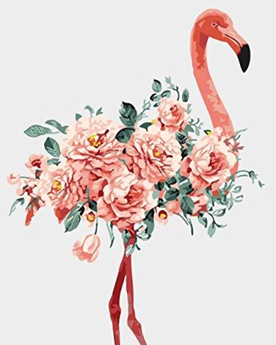 KAOLWY DIY Pintura Al Óleo por Número Kit Pink Flamingo-F,DIY Conjunto Completo De Pinturas Surtidas Pintura Al Óleo Kit Y Accesorios para Cepillos Hijo 16X20 Pulgadas Sin Marco
