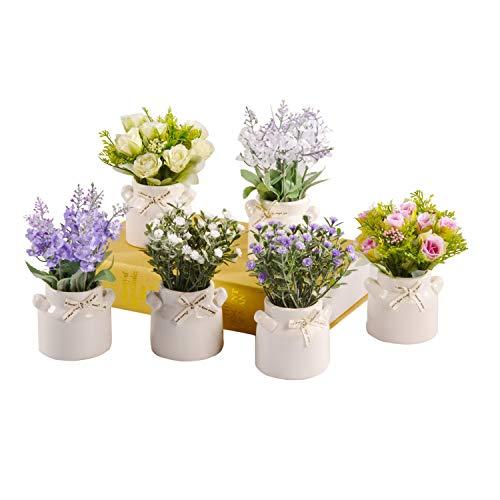 PNNP Kunstpflanze Deko, 6 Stücke Kunstblumen mit Weißen Keramiktöpfen, Indoor und Outdoor Plastik Künstliche Pflanzen Deko, Wohnzimmer Balkon Schlafzimmer Badezimmer Zimmer Tischdeko, MEHRWEG
