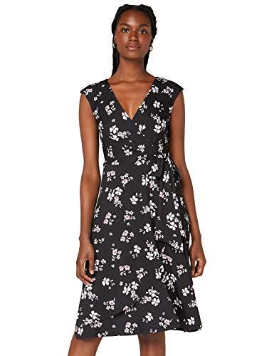 Amazon-Marke: TRUTH & FABLE Damen Wickelkleid aus Jersey, Mehrfarbig (Black Ground Floral), 46, Label:3XL