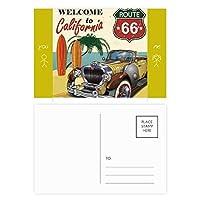 カラフルなクラシックカー・ビーチ・パターン 友人のポストカードセットサンクスカード郵送側20個