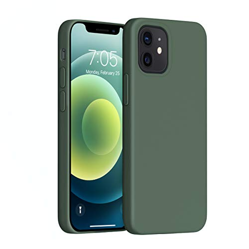 OUXUL Compatible with iPhone 12 Mini Case,Liquid Silicone Gel Rubber Phone Case,iPhone 12 Mini Case 2020 Cover 5.4 Inch Full Body Slim Soft Microfiber Lining Protective Case(Forest Green)