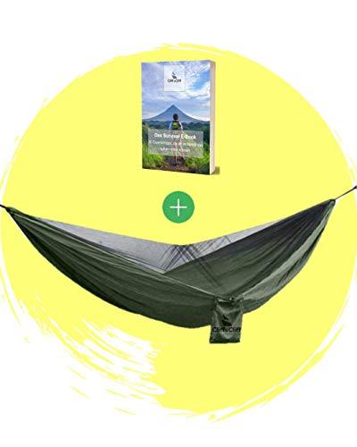 Cliff&Cliff® Hängematte Outdoor Wunder - Innovative 2 in 1 Outdoor Hängematte mit Moskitonetz als Camping Zubehör | Backpacker Zubehör | Survival Rucksack | Outdoor Ausrüstung | Survival Set