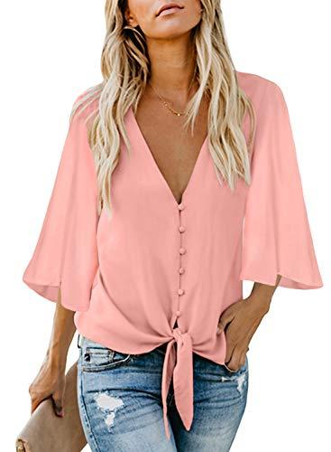 FIYOTE Damen Hemd Lose Langarmshirt Knopf Top Tunika Oberteile Hemd, 2-rosa, S