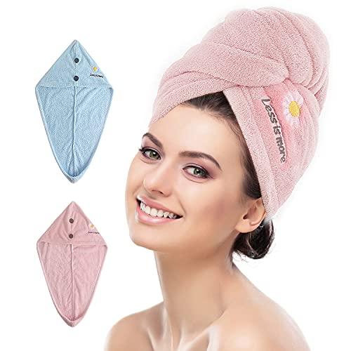 ViVidLife Toalla Microfibra, 2 PCS Toallas para el Cabello Toalla Microfibra Pelo Rizado Turbante de Secado Rápido Toallas de Baño Pelo Gorro de Cabeza para Secar Absorbente con Botón para Mujeres