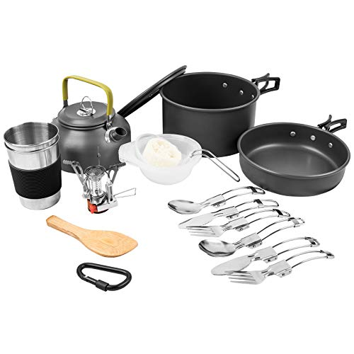 Morevee Camping Cooking Sets, 23Pcs Lightweight Camping Cooker with Pot, Pan, Stove, Kettle and More Camping Cookware Accessories for 2~3 People Outdoor Camping, Travel, Picnic, Hiking