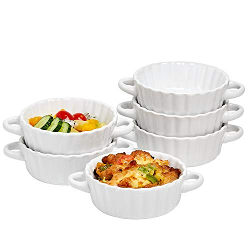 Bake And Serve - 10 Oz Oven Safe Set Of 6 Ceramic Souffle Dishes, Round Double Handle-Ramekins-Baking Mini Pie Dish w/Handles For Pudding, Creme Brulee, Souffle, White