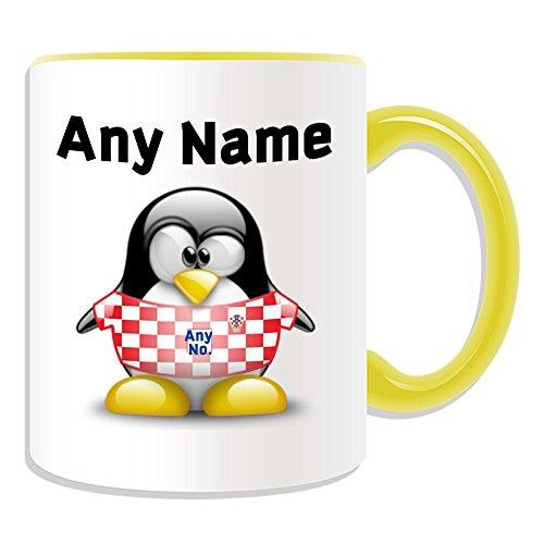 Gepersonaliseerd geschenk - Kroatië Nationale Mok (Penguin Football Team Design Thema, Kleur) Naam/nummer op uw Unieke - FC Kit Shirt Jersey Strip Vatreni De Blazers Peter Miranda Svaic Kroatische CRO Geel
